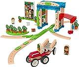 Fisher-Price- Wonder Makers Costruisci la Città, Playset per Piste in Legno e Costruzioni da 75 Pezzi, Giocattolo per Bambini 3+ Anni, FXG14