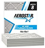 Aerostar 16x16x1 MERV 8 Pleated Air Filter, Made in the USA, 6-Pack