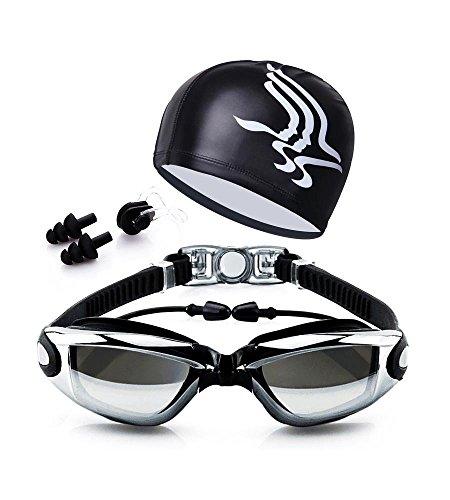 Gafas de Natación y Gorro de Natacion Para Hombres Mujeres Mujer Adultos Jóvenes Niños, Nadar Antiempañado y Anti Rayos UV, Ideal para Todo Tipo de Agua, Piscina, Deportes Acuáticos (Negro)
