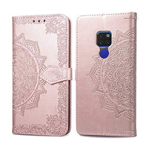 Bear Village Coque Huawei Mate 20, Portefeuille Étui en PU Cuir pour Huawei Mate 20, Anti Rayures Magnétique Coque Housse avec Fente Carte, Or Rose