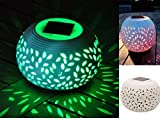 CERAMIC COLOUR CHANGING LED SOLAR SUN POWERED FILIGREE TABLE LIGHT GARDEN LAMP by...