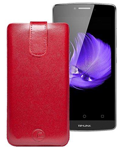 Favory Tasche Leder Etui für TP-Link Neffos C5L | ECHT Ledertasche Hülle Schutzhülle (Lasche mit Rückzugfunktion) rot