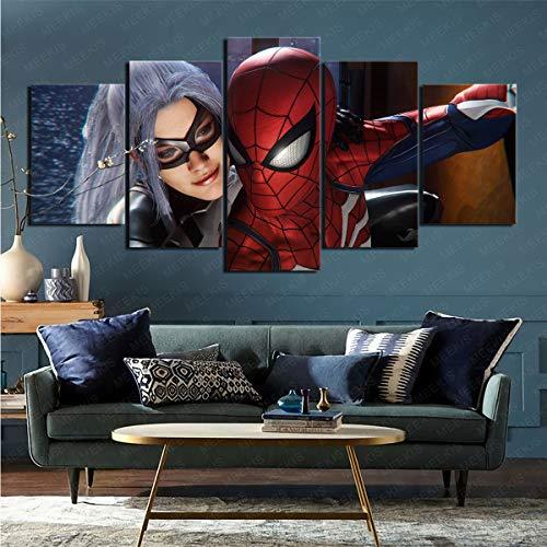 mmkow para Sala De Estar Videojuego Spider-Man (Ps4) Impresión En Lienzo5 Partes Arte De Pared Impresión Decoración del Hogar