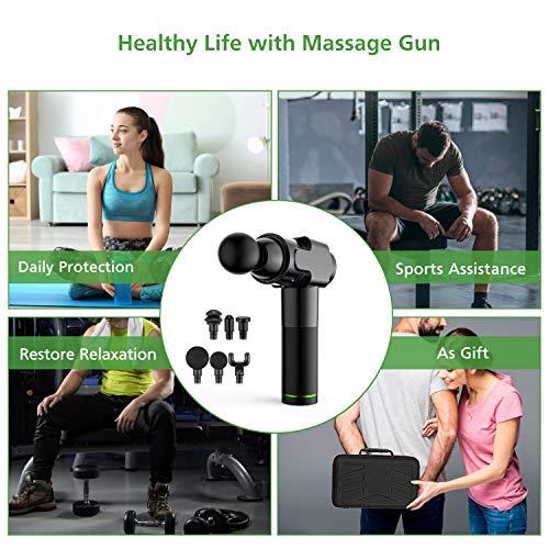51706+6kt1L - Pistola de masaje muscular, masajeador muscular manual de tejido profundo, masajeador de percusión ultra silencioso con 6 cabezales de masaje y pantalla LCD