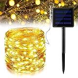 Ankway Solar Lichterketten Outdoor, 200LED Solarbetriebene Lichterketten IP65 Wasserdichte Kupferkabel 8 Modi Lichtdekoration für Gartenzäune, Terrassen, Partys und Weihnachten (Warmweiß)