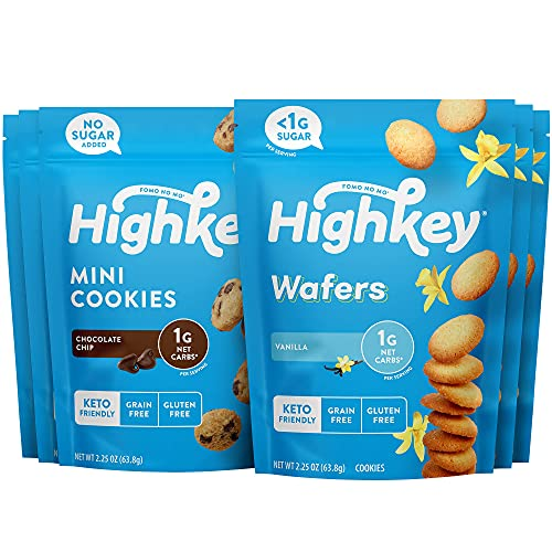 HighKey Keto Cookies - Chocolate Chip Cookies and Vanilla Wafers Bundle, Low Carb Snacks & Gluten Free High Protein Cookie with Low Sugar, Diabetic Friendly & Healthy Foods