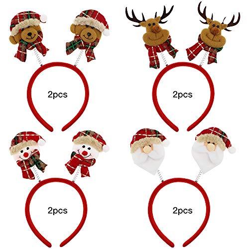 UBERMing 8 Pcs Bandeaux pour Noël Bandeaux de Fête avec Différents Motifs pour Noël Serre Tete Père Noël Ours de Noël Bonhomme de Neige Renne Accessoires de Décoration de Fête Noël pour Enfant Adulte