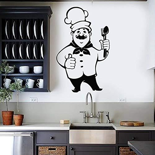 HGFDHG Chef de Dibujos Animados calcomanía de Pared Cocina Comida vajilla Cocina Restaurante decoración de Interiores refrigerador Vinilo Adhesivo Papel Tapiz
