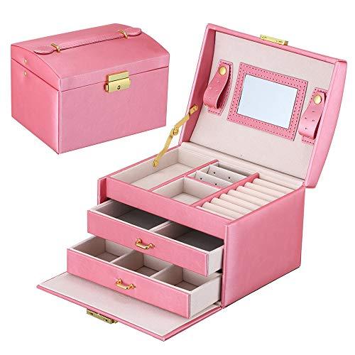 Schmuckkasten Damen, HENZIN PU-Leder Schmuck Aufbewahrungsbox,mit 2 Schubladen und Spiegel, Schmuckkoffer Schmuckkästchen für Ringe Ohrringe,Halskette -Wassermelone rot