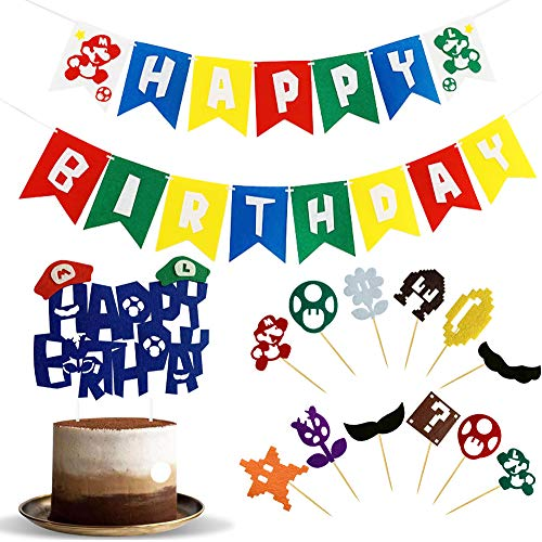 Mario Birthday Decorazioni - WENTS 14PCS Super Mario Birthday Decorazioni Party Supplies, Cake Topper, Birthday Banner, per Bambino Birthday Party Decorazioni Supplies Set