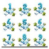 Ysjspd Globo Grande Océano Hoja hincha bebé Shark Boy Fiesta de cumpleaños de los niños Embroma suministra Número Globo de la decoración (Color : Set 13, Shape : Number 5)