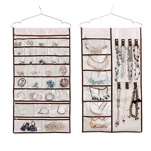 Sieraden-organizer met 38 zakken en 7 gespen en haken, voor sieraden, make-up, armbanden, oorbellen, haaraccessoires, presentatiestandaard