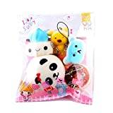 TMEOG Comida Squishy Slow Rising Kawaii Mini Tostadas Donuts Pan Panda Llavero del teléfono Strap Charm Regalo de Juguete para niños (5 Pcs)