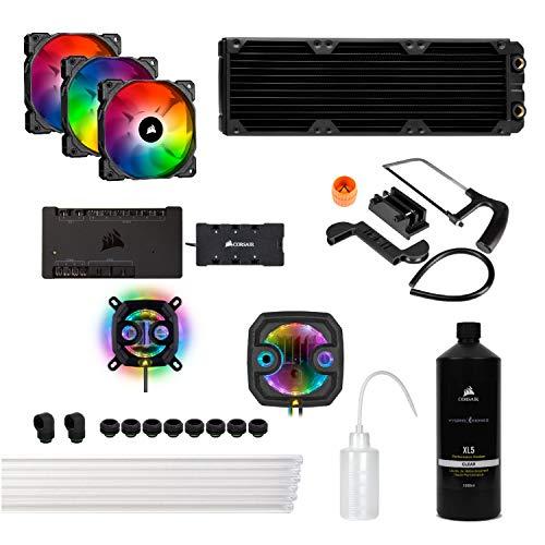 Corsair Hydro X Series, iCUE XH303i RGB Individuelles Kühlungs-Kit (XC7 RGB (115X/AM4), XD3 Pumpen/Kombination, XL5 Kühlflüssigkeit, XR5 Radiator, 3x SP120 RGB PRO Lüfter, etc), Schwarz