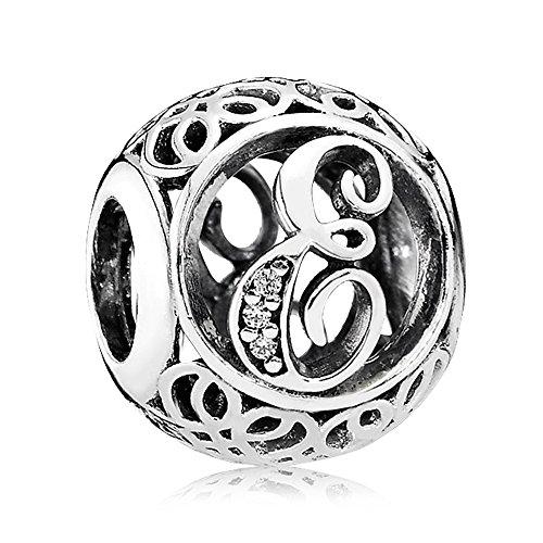 Lily Jewelry Charm vintage con lettere A-Z, con zirconia cubica, in argento sterling 925, compatibile con braccialetti Pandora e Argento, colore: Lettera E, cod. LLY002-008-E