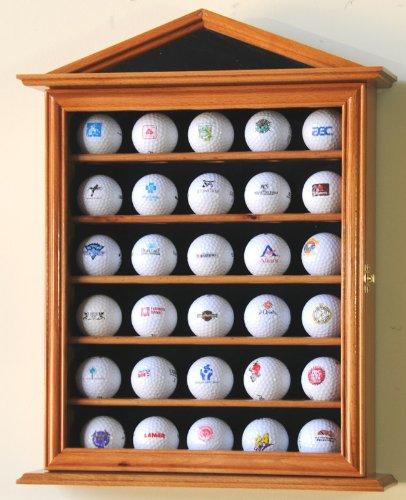 sfDisplay.com, Factory Direct Display Cases 30 Golf Ball Designer Display Case Cabinet Holder Wall Rack -Oak