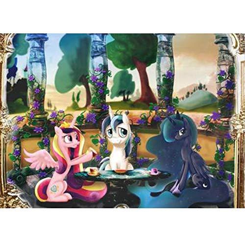 NO BRAND Dibujos Animados Mi Pequeño Pony Cartel de Rompecabezas de Madera Rompecabezas, Juguetes de Inteligencia 300/500/1000 Unidad for el Adulto (Color : C, Size : 500PC)