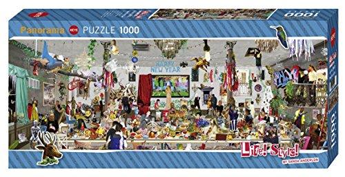Heye 29823 New Year's Eve Panorama 1000 Teile, Sanda Anderlon, Life Style, Grey