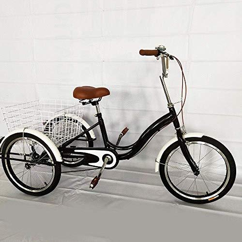 Triciclo de 20 pulgadas para adultos, 1 marcha, con cesta de la compra, 3 ruedas, cómodo bicicleta Tricycle en diseño tradicional para personas mayores