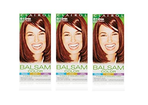 Clairol Balsam Permanent Hair Color, 612RB Medium Reddish Brown, 3 Count