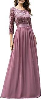 Ever-Pretty Vestidos de Fiesta Encaje Gasa Cuello Redondo Manga 3/4 Corte Imperio A-línea para Mujer 07412