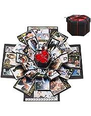 Cosswe Explosion box, överraskningsbox gör-det-själv fotoalbum klippbok vikbar presentask handgjord minnesalbum för födelsedag alla hjärtans dag bröllop kärlek minne