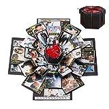 Cosswe Caja de explosión, caja sorpresa, álbum de fotos, álbum de recortes, caja de regalo plegable, hecho a mano, álbum conmemorativo para cumpleaños, día de San Valentín, recuerdo de boda
