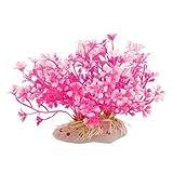 Visork Plantas Artificiales Acuario o Acuario, Color Rosa, Blanco y Blanco
