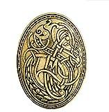 VEA-DE Buttons & Abzeichen Viking Wolf Muster Broschen Button Badge für Kleidung Shirt Jacken (Gold Farbe) Geschenke