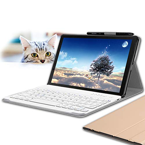 Wineecy Galaxy Tab S4 10.5 Keyboard Case, Stylish PU Leather Auto Sleep/Wake with Magnetically Detachable Wireless Keyboard for Samsung Galaxy Tab S4 10.5 inch T830 T835 T837, Gold