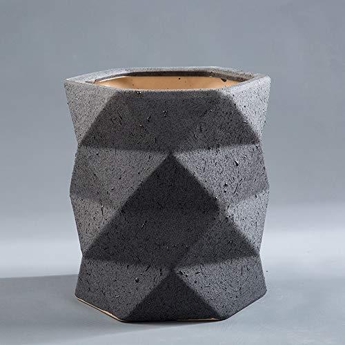 Thwarm, extra grote Europese keramische bloempot designer Origami container plant patio pot keramiek vetplant bloempotten met onderzetter voor balkon kantoor vloer, 20 * 24cm, Zwart