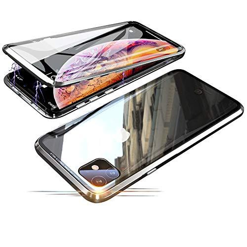 Jonwelsy Funda para iPhone 11 (6,1 Pulgada), 360 Grados Delantera y Trasera de Transparente Vidrio Templado Case Cover, Fuerte Tecnología de Adsorción Magnética Metal Bumper Cubierta (Plata)