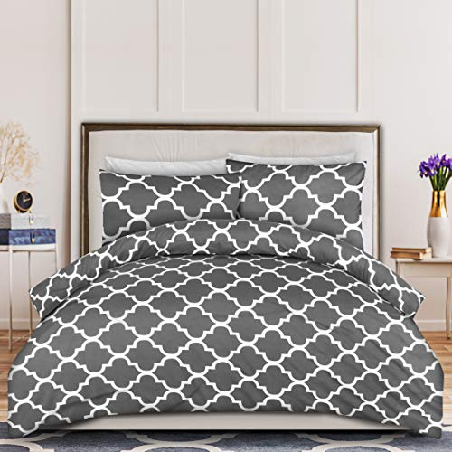 Utopia Bedding Printed Duvet Cover Set - Brushed Microfibre Duvet Cover with 2 Pillowcases (Double, Grey)