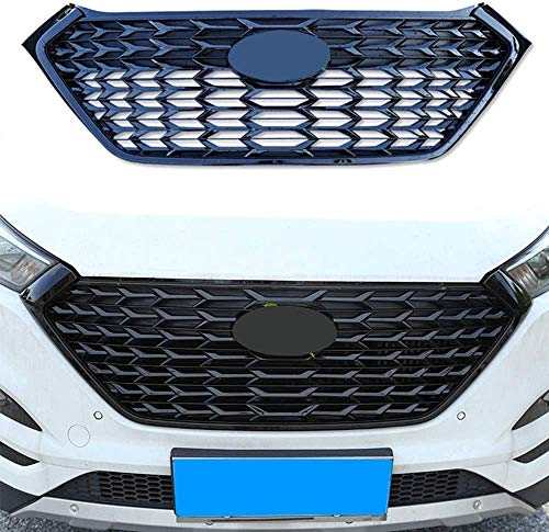 ZQTG Hochwertiges ABS-Material Wabendesign Auto Front Grill Automobile Kühlergrill für Hyundai Tucson 2015-2018 (Color, Silver),Schwarz