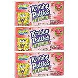 SpongeBob SquarePants Krabby Patties, Limited Edition Watermelon Flavor, Movie Theater Box Candy Basket Stuffers, 2.54 Ounces, Pack of 3