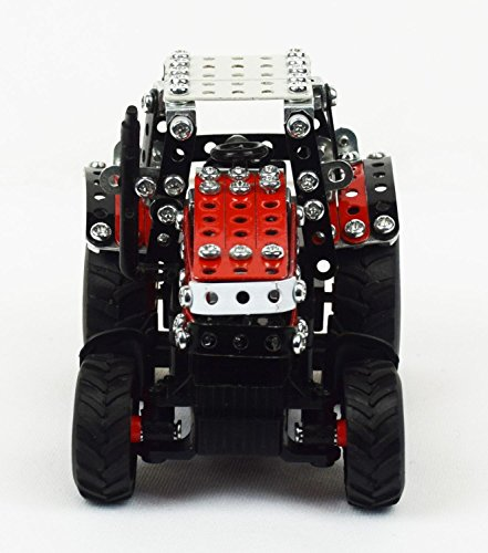 RC Auto kaufen Traktor Bild 2: Tronico 09541 - Metallbaukasten Traktor Massey Ferguson MF-7600 mit Kippanhänger und Fernsteuerung, Maßstab 1:64, Micro Serie, rot, 427 Teile*