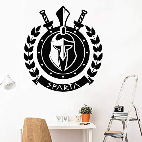 Antigua Grecia Spartan Warrior Fighter Logo Signo Casco Lanza Escudo Vinilo Etiqueta de la pared Calcomanía del coche Dormitorio Sala de estar GIMNASIO Club Decoración para el hogar Mural