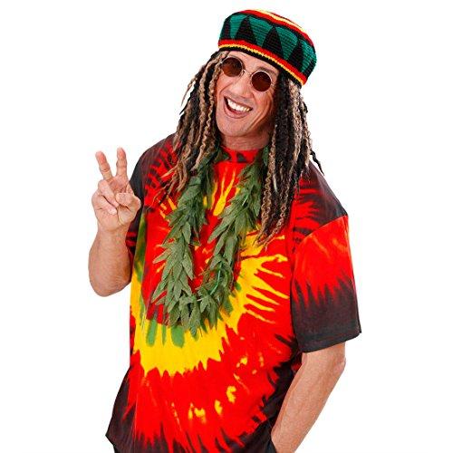 Amakando Hanf Kette Hippie Halskette Reggae Hanfkette Jamaika Hippiekette Cannabis Halsband Rasta Fasching Woodstock Schmuck Flower Power 70er Jahre Mottoparty Accessoire Karneval Kostüm Zubehör
