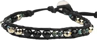 Chan Luu Onyx Mix Single Black Leather Wrap Bracelet