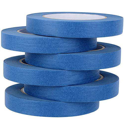 Blue Painter's Tape, Multi-Surface Masking Tape, 7 Day Easy Removal Trim Edge Finishing Blue Painting Tape, 3/4 inch by 60 Yards, 6 Rolls by Skytogether