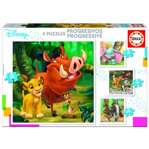 Educa Borrás- Puzzles Progresivos Dumbo, Bambi, Lion King, El Libro de la Selva, Color variado, Talla Única (18104)