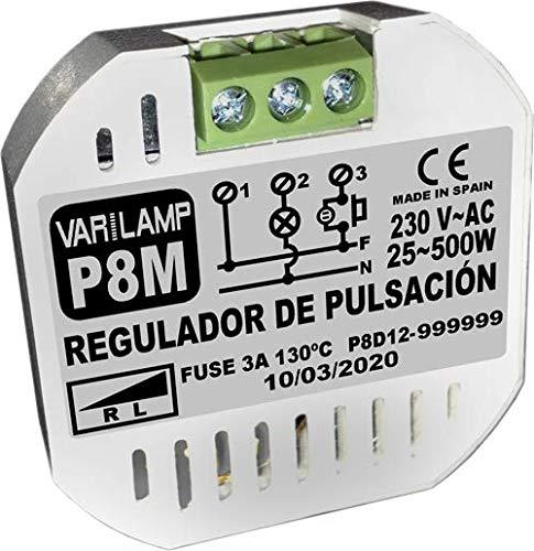P8M. Regulador de luminosidad a pulsadores para incandescencia y halógenos. Conexión a 3 hilos. 800W Máx.