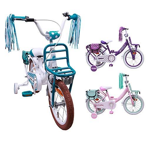 amiGO Dots - Kinderfiets - 16 Inch - Meisjes - Met trainingswielen en achtbaan rem - Wit