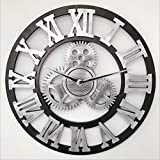 Decorative Gear Wall Clock Large Wall Clock, 3D Vintage Skeleton Wall Clock Roman Numerals Non Ticking Wall Clock for Living Room, Hotel Office Home Decor Gift (Silver, 18')