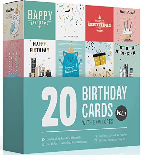 Wonder Cards, Geburtstagskarten, 20 Stück, Designs für Damen, Herren und Kinder, umweltfreundliches Produkt, Kunststoff, handverpackt in Großbritannien, Band 1 von Wonder Cards