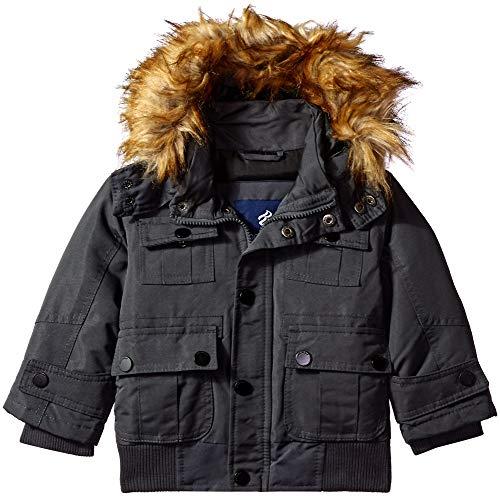 Rocawear Boys' Toddler Hooded Bomber Parka Jacket, Charcoal, 2T