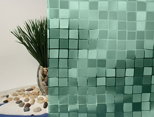 "Cut Glass Mosaic, Decorative, Colored, Privacy, Static Cling Window Film (35"" x 7ft, Sea Green)"