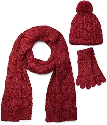 styleBREAKER set coordinato di sciarpa, cuffia e guanti, sciarpa in maglia con motivo intrecciato con cuffia a pon pon e guanti, donna 01018208, color
