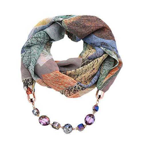 GOGNGTR Vintage Ethnic Women's Scarf Crystal Bead Pendant Accessory Necklace Soft Infinity Scarves(sc005) (blue)