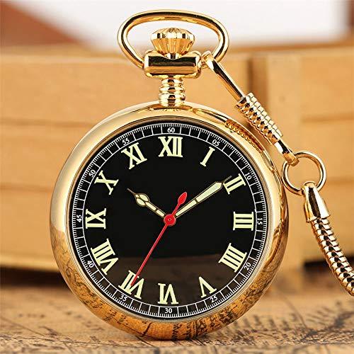 XVCHQIN Leuchtende arabische Ziffern Zeigen mechanische Taschenuhr mit Automatikaufzug Exquisite Silberne Retro-Pendeluhr mit 30 cm Taschenanhänger, Gold